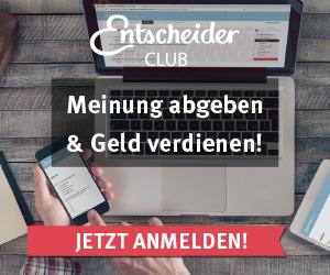 Der EntscheiderClub, Meinung abgeben & Geld verdienen, mit Umfragen verdienen, Jetzt anmelden